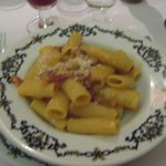 Not a good picture, but you can see the large penne used for the carbonara. Mouth watering!