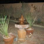 Evening gentle fountain sounds on encosed courtyard