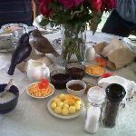 Breakfast with its farm made buttern and jams