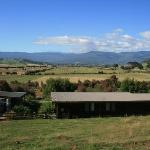 View from the sheep paddock with cottages in front