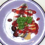 Anchovies with raspberry ketchup. Surprising.