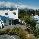 The motel and the Remarkables beyond