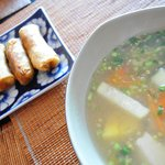 fish soup and spring rolls