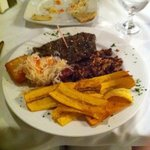 central American steak w/ fried cheese and gallo pinto plus mariquitas