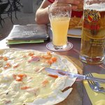 Pflammkuchen..local specialty, great with beer or wine.