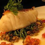 Chunk of North Sea Cod, Herb & Green Lentil Risotto with Parmesan, Samphire, Tomato & Shallot Dr