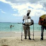 Some entertainment at our beach chairs on the beach in Negril