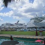 View of pool and docked cruise ships