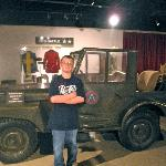 my son in front of Gen. Patton's customized Jeep.
