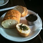 bread and herbal dip appetizer