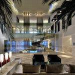 The plush modern lobby of Hyatt Regency Dubai