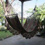 There are lots of hammocks to lounge in after a long day hiking the volcano!