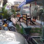 Part of the outdoor eating area, new mini mart
