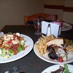 Cobb Salad (left) and Focaccia (right)