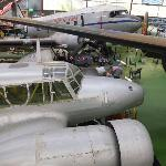 Aircrafts inside the exhibition hangar