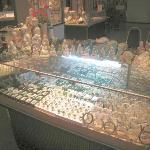 Some jade statues were for sale as well as jewellery