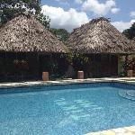 The pool at Tikal Inn.