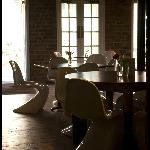 situated in a an old mill building and furnished with Panton chairs