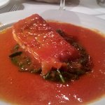 Salmon with spinach and tomato sauce