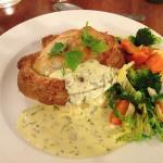 Minced Beef Pie served with green liquor mashed potato and veg