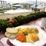 Omelet with a view. . .of Marina Vallarta's boats.