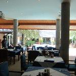 Restaurant looking out at the pool