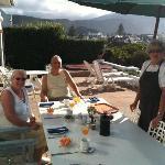 Barbara serving my parents breakfast