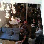 view of downstairs via atrium