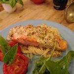 Salmon & pasta with tomato & basil cream sauce - dinner option at Kamahi Cottage
