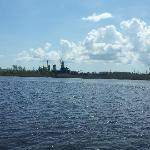 View of USS North Carolina while on the Cape Feear River