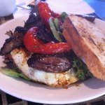 Flank steak & eggs, roasted tomatoes onions & greens!