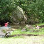 Kids playing in the stream.