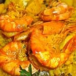 Fresh Prawn topped the Paella dish