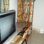 TV and clothes rack