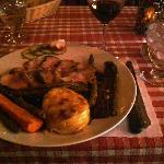 Duck and Polenta w/ steamed veggies-Merci!