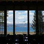 View out the dinner room window of the lodge