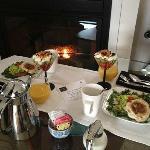 Breakfast by the fireplace
