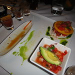 ceviche combo, shooters, crab & one with watermelon...hmmm different