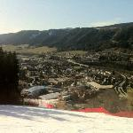 view of Schladming from the ski slope, the hotel is on the right side