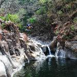 Jumping on the waterfall tour