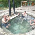 One of two riverside hot tubs