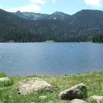 Big meadows Reservoir - bank fishing in foreground - top of mountain is Wolf Creek pass upper le