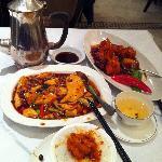 Braised Tofu, Jasmine Tea, Fried Prawns w/Chili