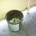 20-year-old coffee can for smokers right outside the door.  Convenient!