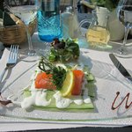 A light spring lunch - cucumber carpaccio with salmon and roe