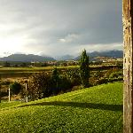 View from verandah to the mountains after a storm