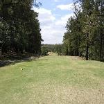 The T-box of  par 4 18 th hole, crossing a ravine to reach the green