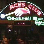 Aces Bar lit up at night