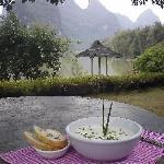 Beautiful scenery at lunch, Yangshuo Mountain Retreat, Yangshuo China