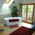 Soaker tub in room